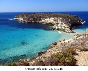 clean sea of the LAMPEDUSA island in Italy