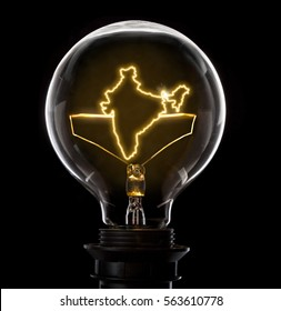 Clean and shiny lightbulb with India as a glowing wire.(series)