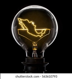 Clean and shiny lightbulb with Mexico as a glowing wire.(series)