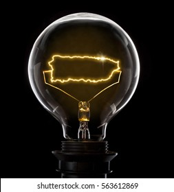 Clean and shiny lightbulb with Puerto Rico as a glowing wire.(series)