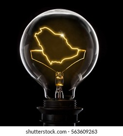 Clean and shiny lightbulb with Saudi Arabia as a glowing wire.(series)