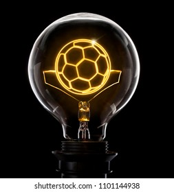 Clean and shiny lightbulb with a soccer ball as a glowing wire.(series)
