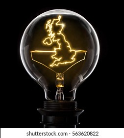 Clean and shiny lightbulb with United Kingdom as a glowing wire.(series)