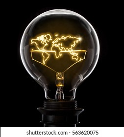 Clean and shiny lightbulb with the world as a glowing wire.(series)