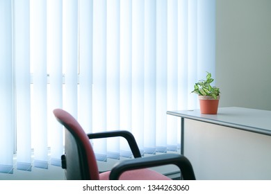 Clean and simple look of an office room or work place with copy space