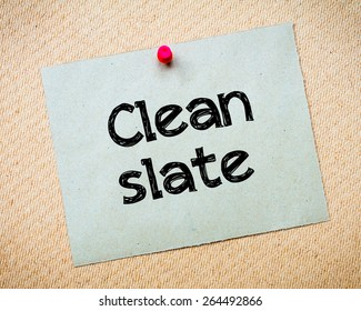 Clean Slate Message Recycled Paper Note Pinned On Cork Board Concept Image