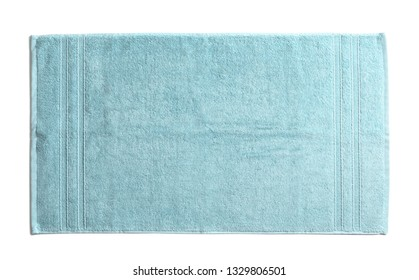 Clean soft terry towel on white background, top view