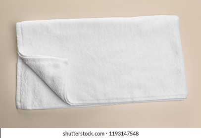 Clean soft towel on light background