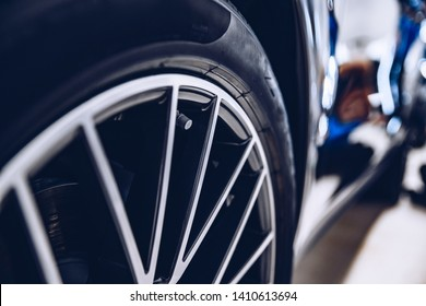 Clean sports car wheel with air valve
