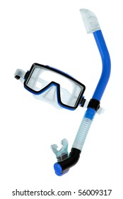 Clean studio shot of blue diving goggles with snorkel on white background