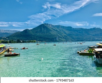 Clean and stunning Lake Annecy in summertime