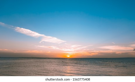 Clean sunset/sunrise sky horizon over the sea of java island, indonesia