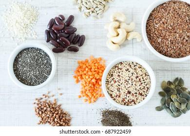 Clean super foods – various seeds, quinoa and legumes