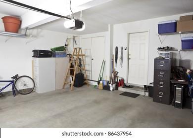Clean swept interior suburban garage.
