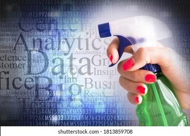 Säubern Sie das IT-Systemdatenniveau mit Sprühreiniger über Datenbank