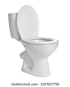 Clean toilet bowl on white background