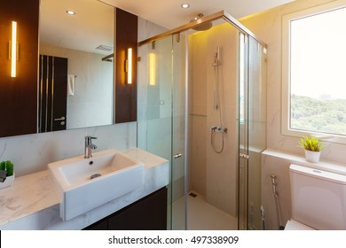 Clean toilet and shower room in a luxury house