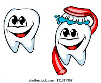 Clean tooth with toothbrush and paste for healthcare and hygiene concept design. Vector version also available in gallery