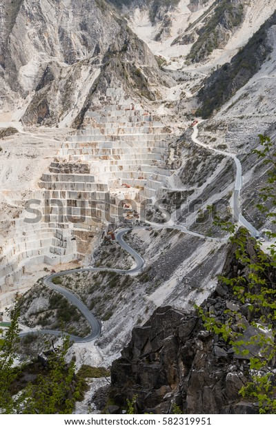 Clean View Carrara Marble Quarry Extraction Stock Photo