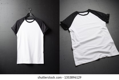 Clean vintage folded t-shirt lies on a black wooden table background. Front view of American Hipsters retro classic clothes