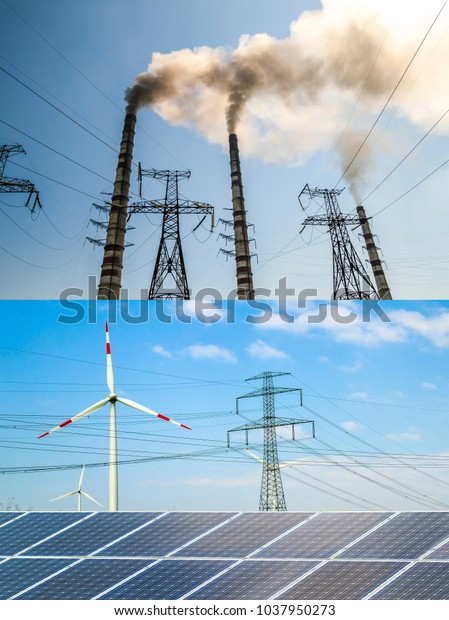 Clean vs dirty energy. Solar panels and wind turbines against fuel coal power plant. Sustainable development and renewable resources concept.