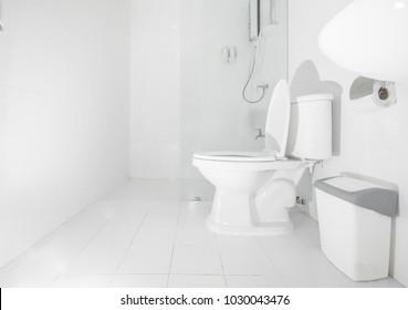 Clean white bathroom, interior Modern style