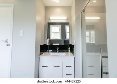 Clean White Bathroom Sink Interior