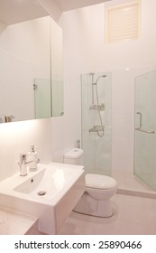 Clean and white color modern classy minimalistic bathroom toilet