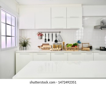 Clean white kitchen  Saw and wanted to cook