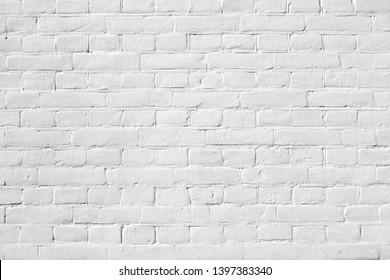 Clean white painted brickwork texture background pattern