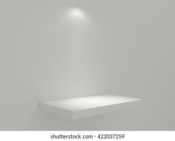 Clean white shelf on the white wall. White stand for your design mock up. The blank platform under the object for intention with directed light source. High resolution 3d illustration