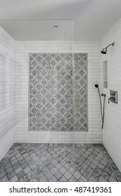 Clean White Shower with Tile Details