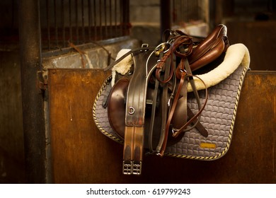 Cleaned quality horse tack in stable early morning light