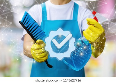 Cleaner with brush against the icon of a job well done.