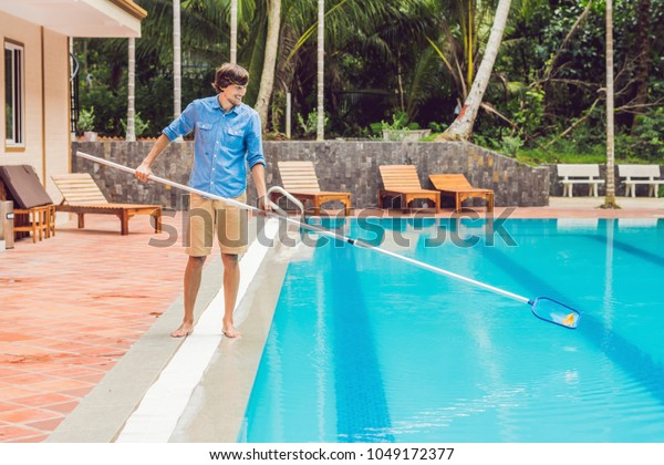 Cleaner Swimming Pool Man Blue Shirt Stock Photo (Edit Now ...