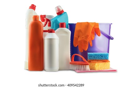 Cleaners, gloves, brushes, jars and boxes