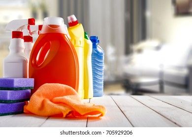 Cleaners on a white table in bright interior