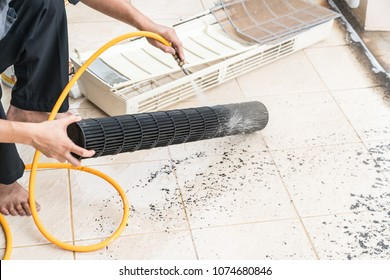 cleaning air conditoner by high water pressure