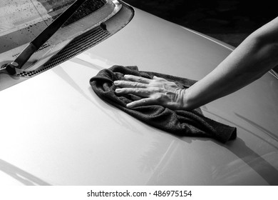 Cleaning the car,car care concept. black and white tone filter
