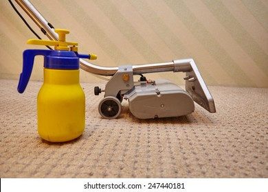 Cleaning carpet with commercial cleaning equipment