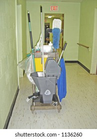 cleaning cart in a hall of a care institution