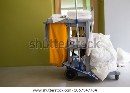 Cleaning Cart Janitor Trolley Orange Trash Stock Photo (Edit Now ...