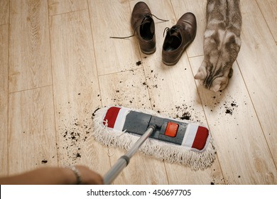 cleaning of dirt on the laminate with a mop