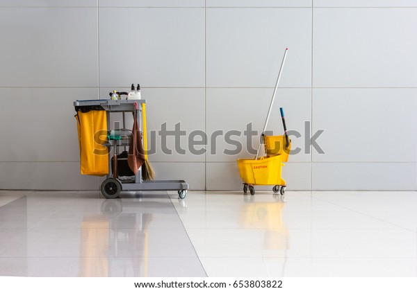 cleaning equipment in hallway