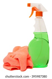 cleaning equipment isolated on a white background. colored plastic bottles with Detergent isolated on white background . Studio shooting