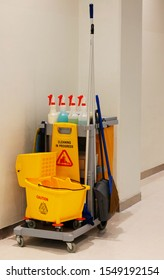 cleaning equipment on cart for professional cleanner