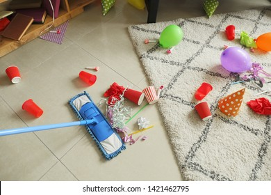 Cleaning of floor in room after party