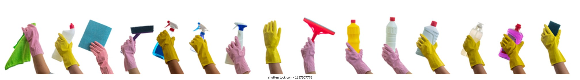 Cleaning, hand holding cleaning products and accessories isolated against white background. Cleaner rubber glove with cleaning supplies collage.