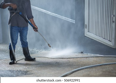 Cleaning with high pressure water jet.