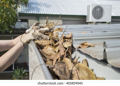 Cleaning the home gutters during Autumn